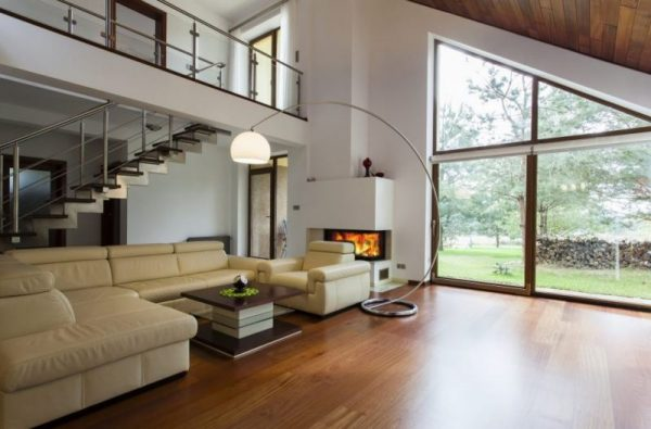 Open space concept living area with custom framing and windows.