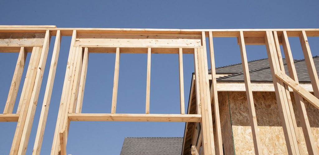 Framing of walls and roof for new house construction